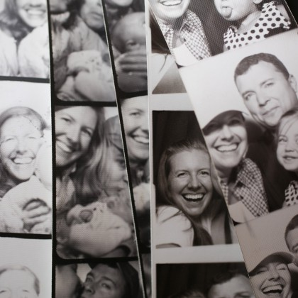 black & white photo booths are the best and i squeeze my family into them every chance i can.  years ago, i saw a dad give his daughter a stack of their booth strips on her wedding day and i've kicked it into high gear ever since.